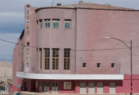 The deserted hotel and theatre surrounded by empty streets in the former mining town of Chuquicamata. The town has been abandoned since 2007.