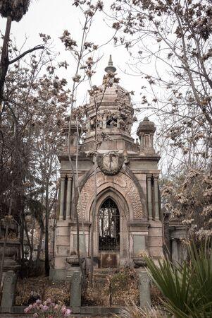 santiago: Elaborate architecture on a tomb in the National Cemetery Cementerio General de Santiago, Santiago, Chile.