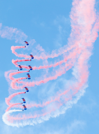 freefall: RAF Falcons Parachute display team perform for the public during the 2015 Sunderland Airshow.