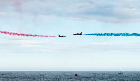manoeuvre: The Royal Air Forces Red Arrows Display Team perform a head-to-head manoeuvre during the 2015 Sunderland Airshow.