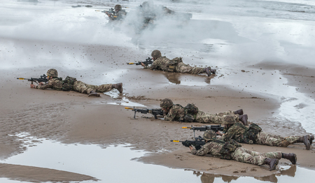 public demonstration: British Royal Marine Commandos perform a beach assault demonstration for the public during the 2015 Sunderland Airshow.