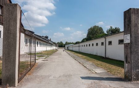 concentration camp: Administration buildings at the former Dachau concentration camp near Munich, Germany. The site is now a memorial and a museum.