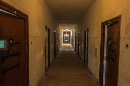 concentration camp: Corridor leading to prison cells in the former Dachau concentration camp near Munich, Germany. The site is now a memorial and a museum.