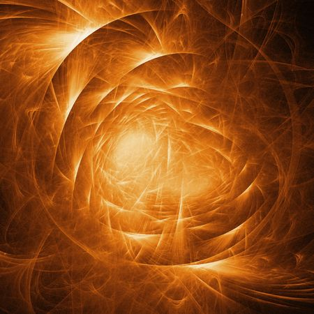 ray tracing: golden fire chaos Stock Photo