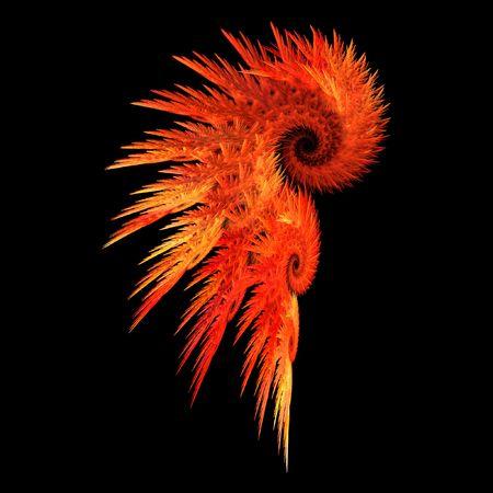 plumas de color rojo fuego símbolo abstracto