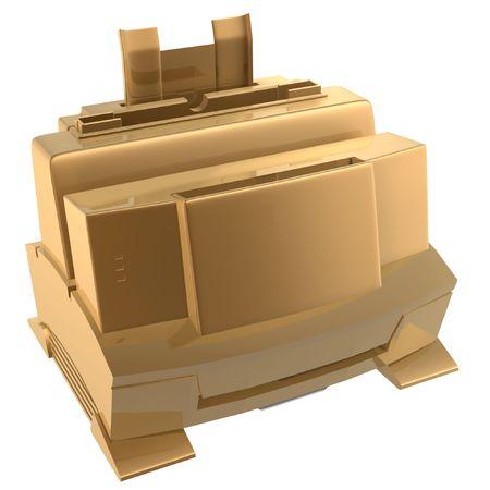 3d golden printer of office Stock Photo - 539180