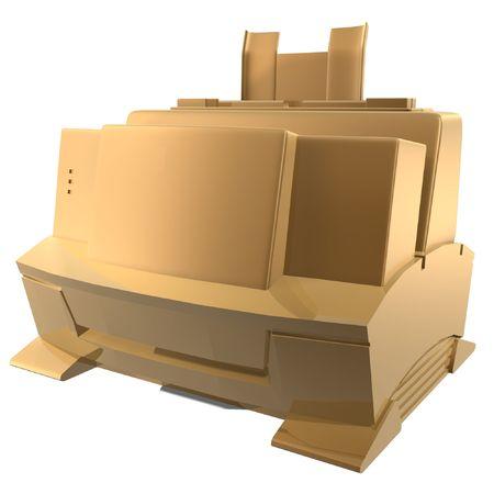 3d golden printer of office Stock Photo - 539167