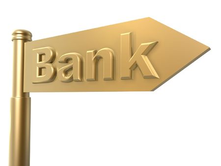 road to bank golden guide sign Stock Photo