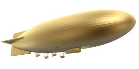 rise to the top: 3d golden blimp side view