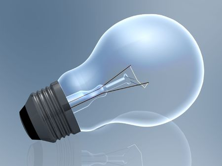 right on: Light bulb on blue background. Stock Photo