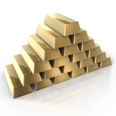 3d gold bars pile up photo