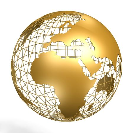 golden globe: golden globe of africa and europe on frame Stock Photo