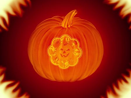halloween pumpkin with fire around Stock Photo