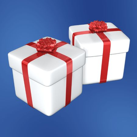 white gift box and red ribbon of christmas Stock Photo - 639082