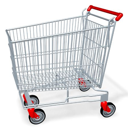 wag: empty shopping cart of supermarket or mall