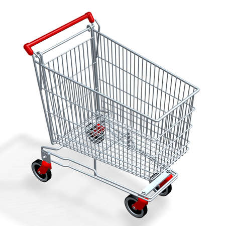 empty shopping cart of supermarket or mall photo