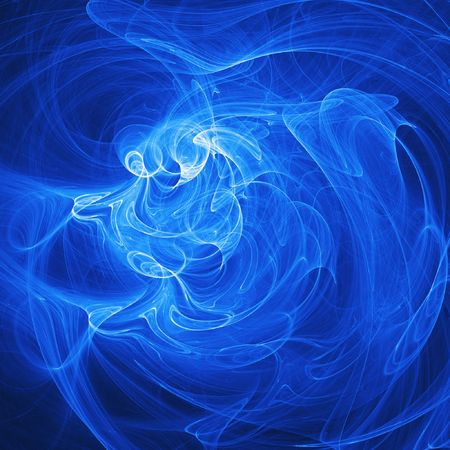 myst: bright blue rays chaos and star on dark background Stock Photo
