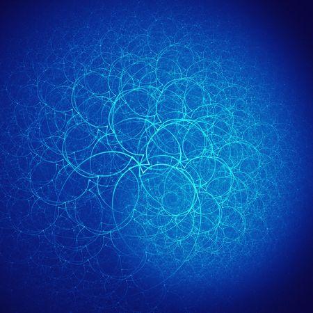 myst: abstract blue branchs of nest on dark background
