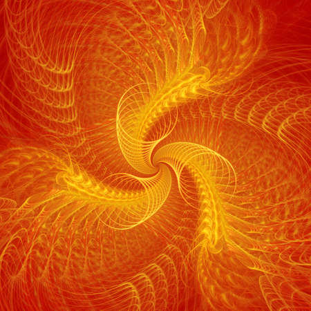 abstract chaos fire golden circles on red background photo