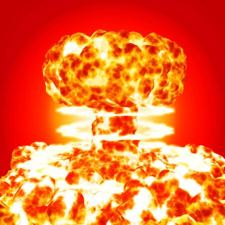 nuke: nuclear bomb blasting on red background