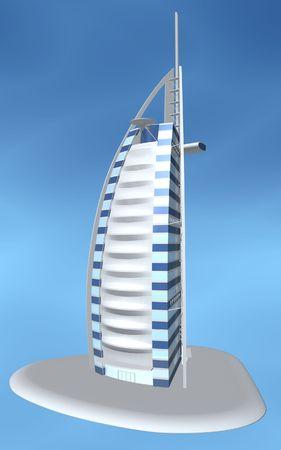 united arab emirate: Burj al arab hotel of dubai on blue background