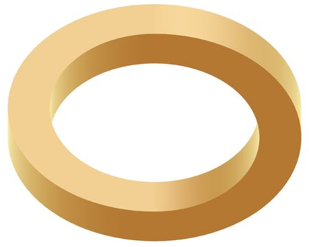 abstract optical illusion of golden ring on white background