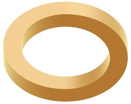 arte optico: resumen ilusi�n �ptica de anillo de oro sobre fondo blanco
