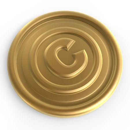 copyright: golden copyright sign coin on white background  Stock Photo