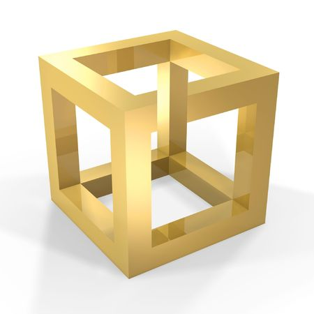 abstract optical illusion of golden cube on white background