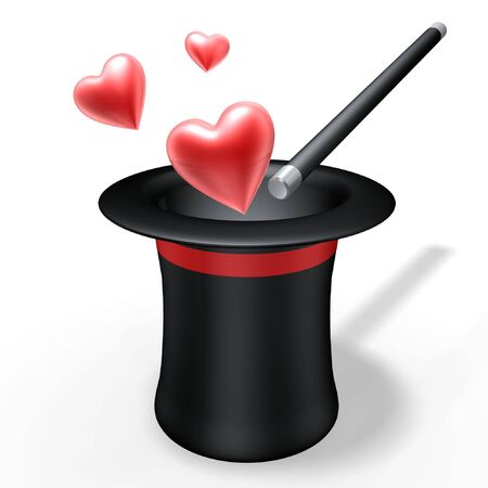 abstract magic hat and wand with love heart Stock Photo - 936692