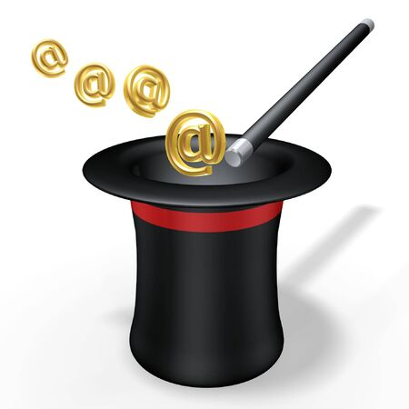 harry: abstract magic hat and wand with email symbol Stock Photo