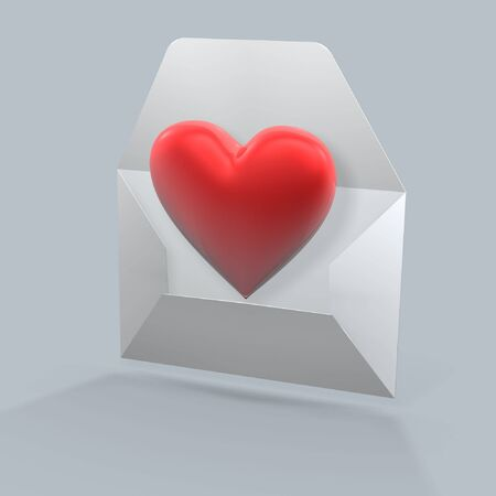 red heart being mailed in an envelope Stock Photo - 936700