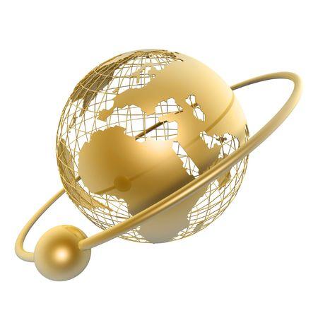 comercio: Globo de oro y la luna a su alrededor sobre fondo blanco