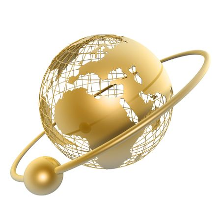 golden globe and moon around it on white background Stock Photo