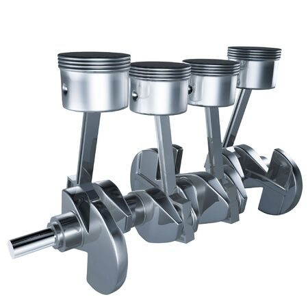 3d pistons and crankshaft of engine on white background