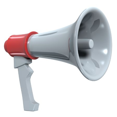 amplify: hand-hold megaphone(amplifier) on white background Stock Photo