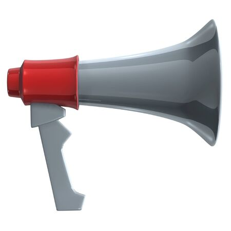 handhold: hand-hold megaphone(amplifier) on white background Stock Photo