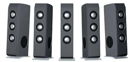 hifi: five Hifi black speakers in a row on white background