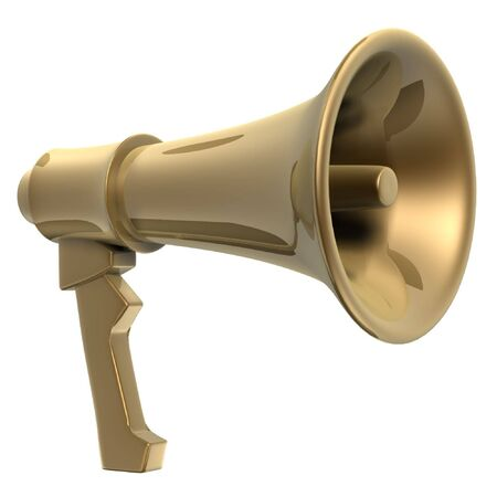 news values: hand-hold golden megaphone(amplifier) on white background