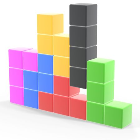classic tetris game pieces fit together Stock Photo - 936777