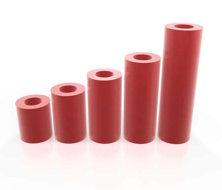 red tube: rosso tubo grafico delle imprese su sfondo bianco