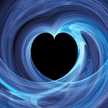 blue heart hole in twirl rays background photo