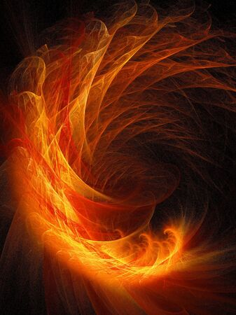 raging: abstract fire flame dragon on dark background