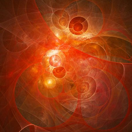 myst: abstract red rays chaos and star on bright background