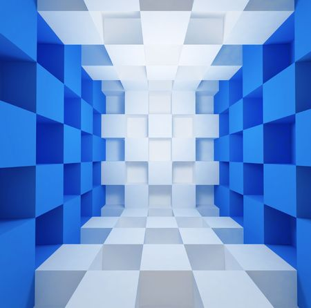 cubic: blue and white cubic space room background Stock Photo