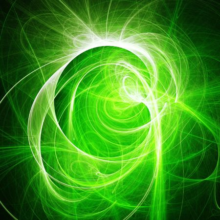 abstract green chaos cloud rays on dark background photo