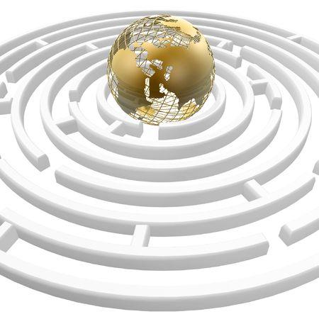 3d golden globe in the maze center