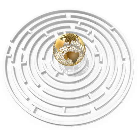 3d golden globe in the maze center Stock Photo - 1334148