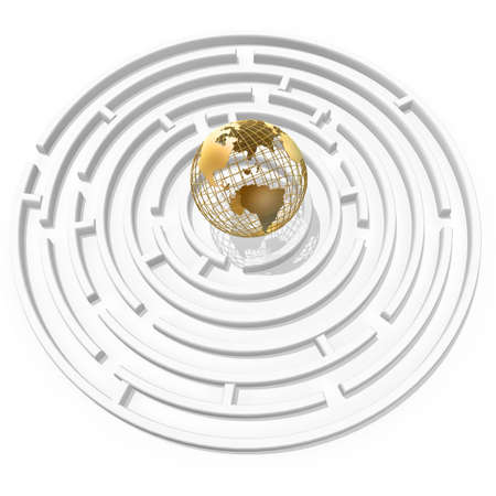 maze game: 3d golden globe in the maze center