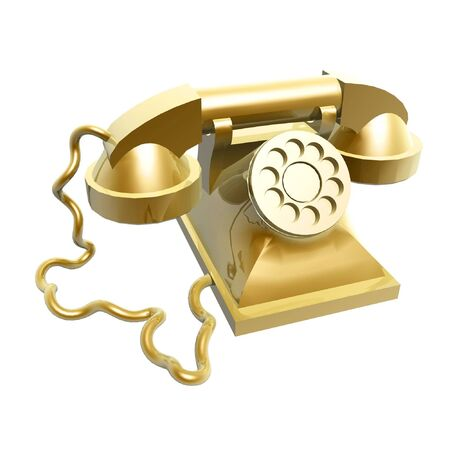 3d golden vintage telephone isolated on white background photo